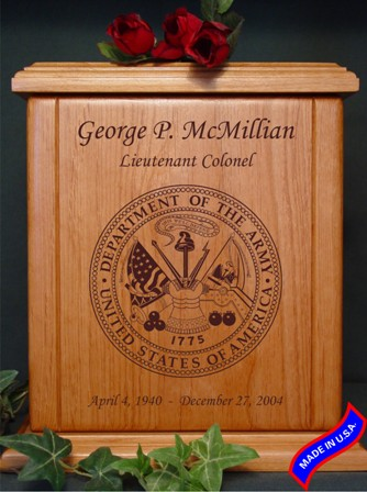 heratage wood army memorial urn