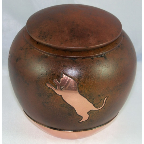 brown ceramic cat urn