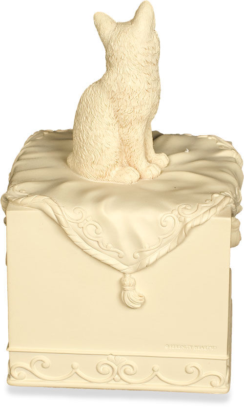 back view of polistone cat figurine urn