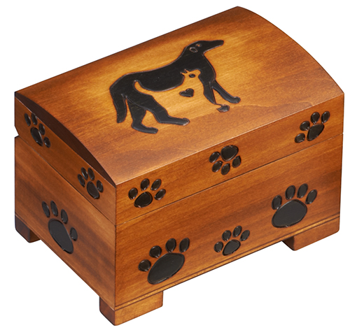 Dog and cat wood paw print urn