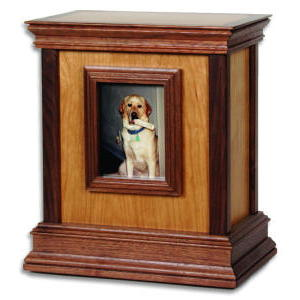 Framed contemporary wood urn