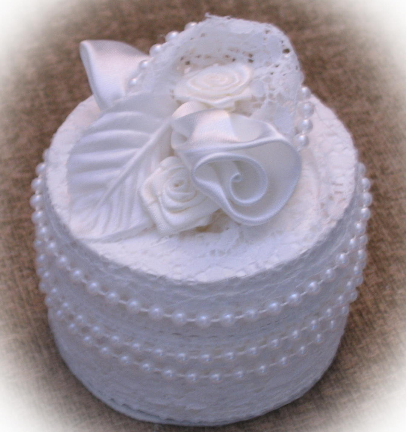 Elegant rose and lace handmade wedding ring box