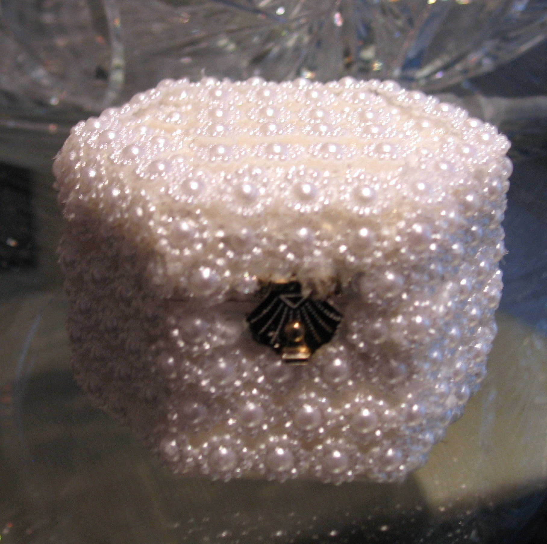 daisy pearl and beaded handmade engagement or wedding ring box