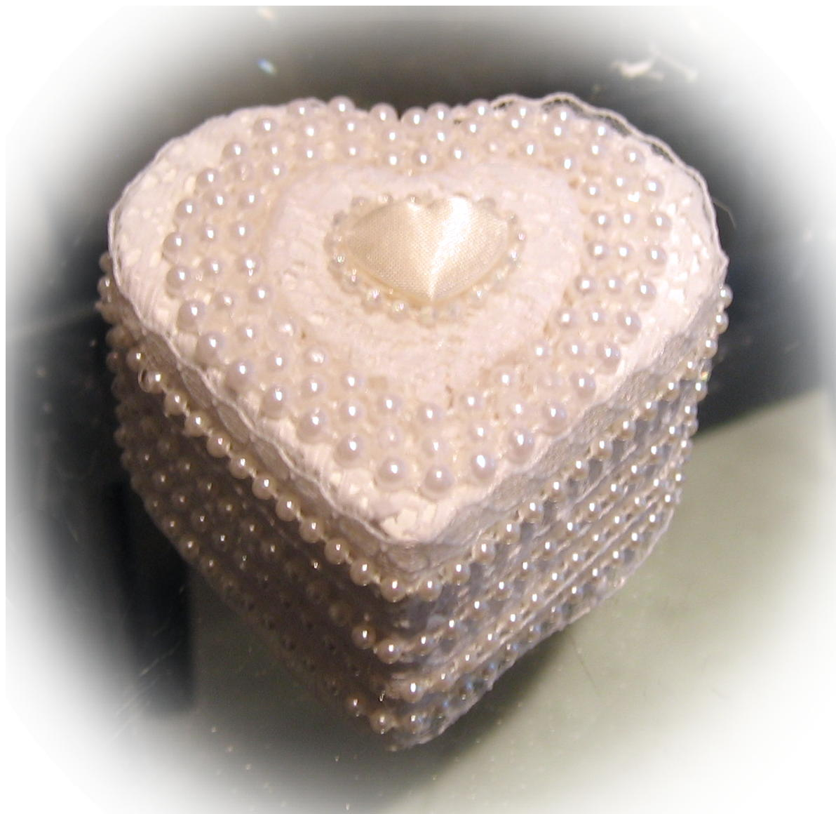 Satin Heart engagement Ring Box