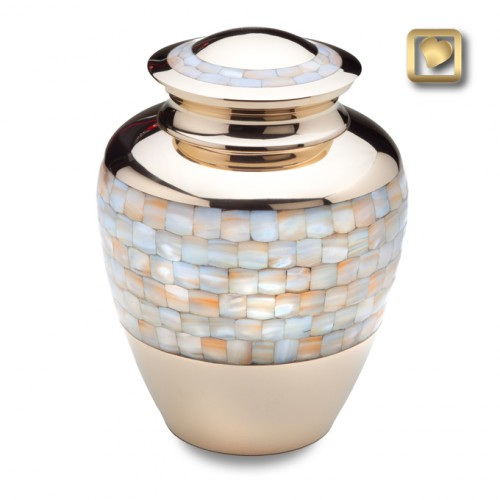 brass and mother of pearl keepsake urn