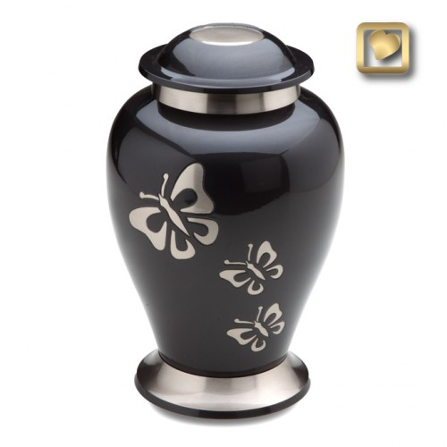 black keepsake urn with pewter butterflyswith pewter butterfly design