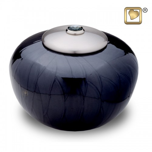 Round Black Pearl and Silver Brass Urn