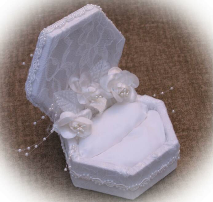 open double  wedding ring box