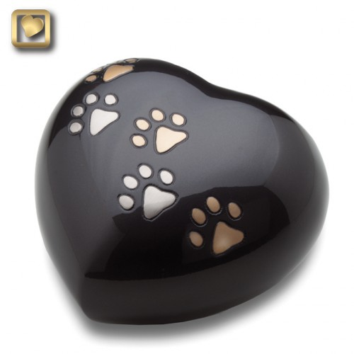 Black paw print heart urn
