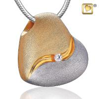Sterling Silver Heartfelt Gold Vermeil Two Tone with Clear Crystal Cremation Pendant