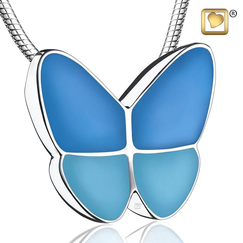 Sterling Silver Wings of Hope Butterfly Cremation Pendant