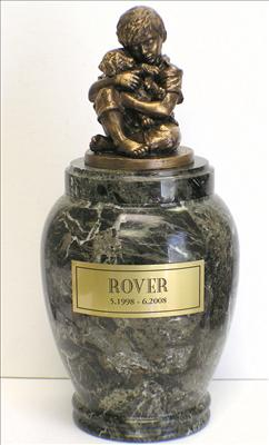 Friends Forever Large Marble Dog Urn with bronze sculpture of a Boy holding a puppy