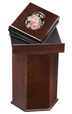 podium urn with memory album