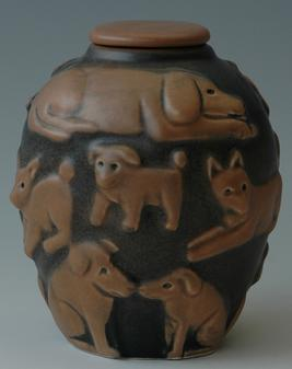 Black and tan custom dog urn