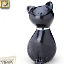 black metal kitty urnwith jeweled collar