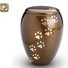 Bronze paw print cremation urn foe pet