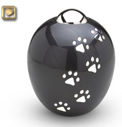 Black oval paw print pet urn