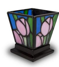 PINK TULIP STAINED GLASS KEEPSAKE CANDLE HOLDER URN