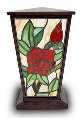 Red Rose tiffany style Butterfly Cremation Keepsake Lamp