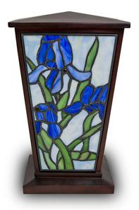 BLUE IRIS​ STAINES GLASS CREMATION URN