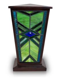 EMERALD MISSION STAINED GLASS CREMATION URN