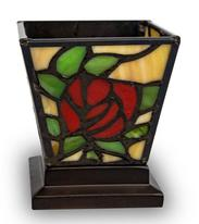 RED ROSE STAINED GLASS KEEPSAKE CANDLE HOLDER URN
