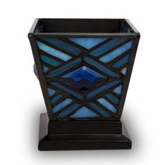 BLUE MISSION STAINED GLASS KEEPSAKE CANDLE HOLDER URN