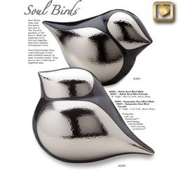 Keepsakes soulbird cremation urns in silver and black