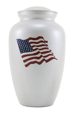 white USA Flag urn