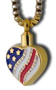 heart and flag Cremation pendant