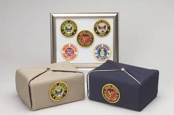 fabric urns with medalion for the military