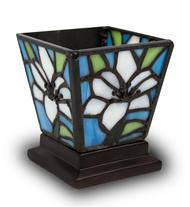 WHITE LILY STAINED GLASS KEEPSAKE CANDLE HOLDER URN ​