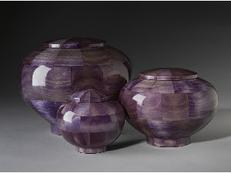 purple dyed wood cremation urns