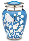 Blue bird brass cremation urn
