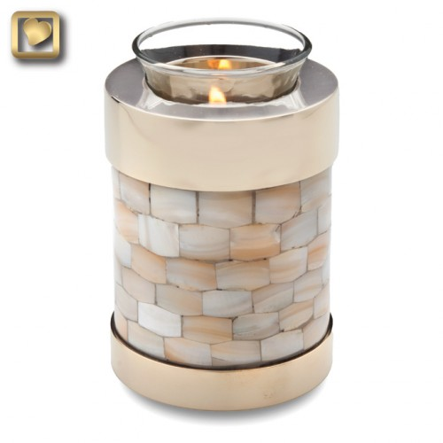 votive candle urn in mother of pearl