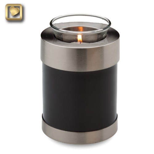 black and pewter votive candle urn