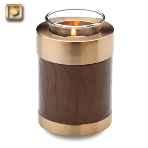votive candle urn in brown