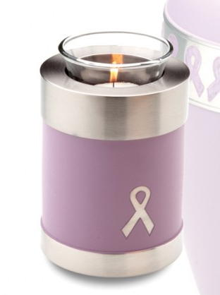 votive candle urn in pink with ribbon for the cure