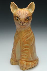 ceramic cat sculpture urn
