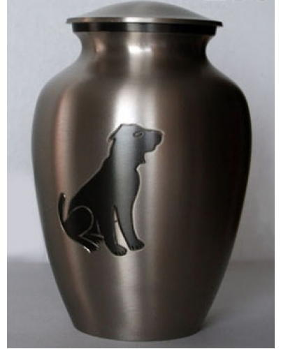 metal urn with dog silowett